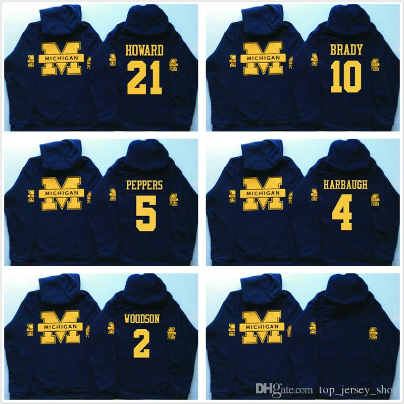 2019 Men S Michigan Wolverines Hoodies Jim Harbaugh 4 Desmond Howard 21  Charles Woodson 2 Tom  10 Navy Brady College Hooded Pullover Sweatshirts  From ... 427fb47e8