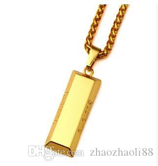 18K Gold Burst this season gold bullion pendant boom men and women long  hip-hop jewelry necklace