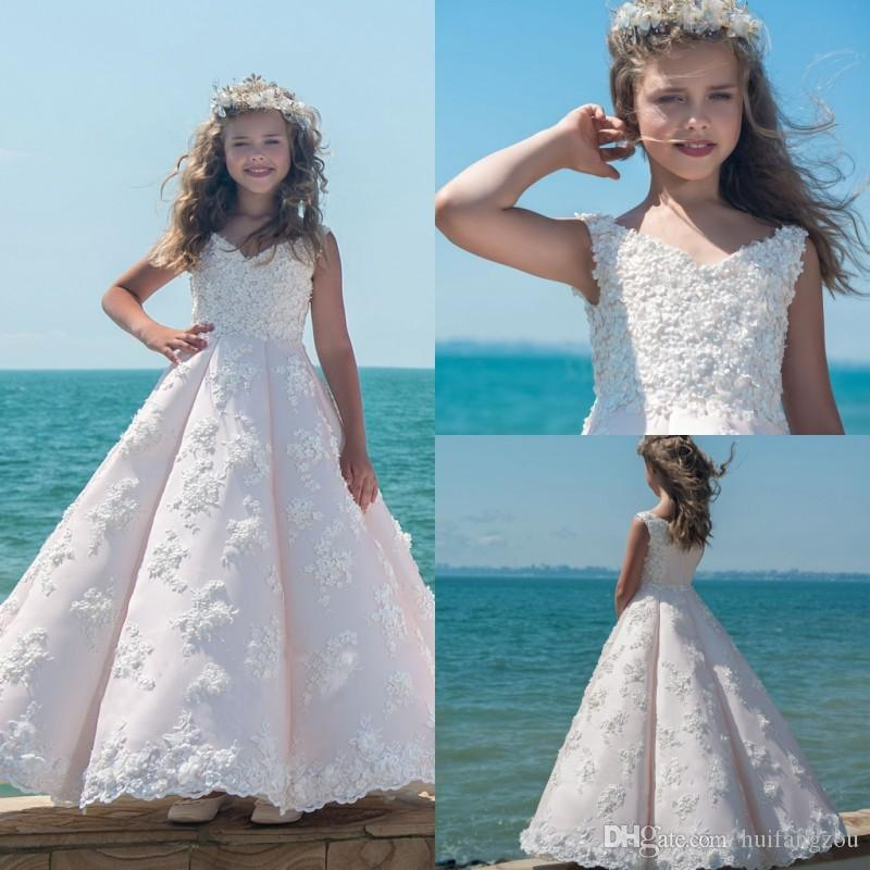 Lovely Blush Pink Ball Gown Flower Girl Dresses For Vintage Wedding ...