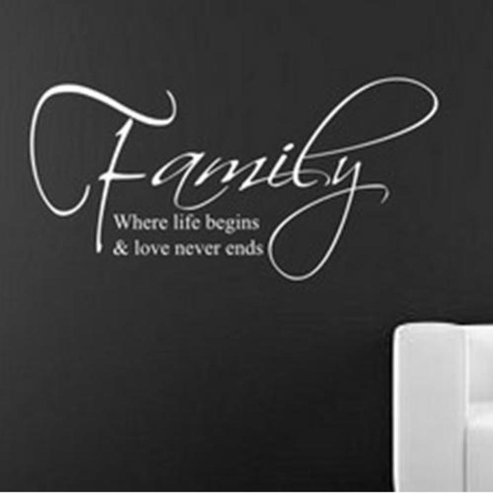 diy family where life begins art quote wall sticker wall decal see larger image