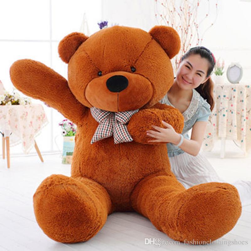 "6.3 FEET TEDDY BEAR STUFFED LIGHT BROWN GIANT JUMBO 72"" size:160cm birthday gift"
