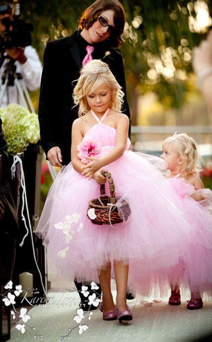 Pink Princess Flower Girl Dresse Dress halter Handmade Flower A Line Tutu Kids Back Open Back communion Halloween Gowns