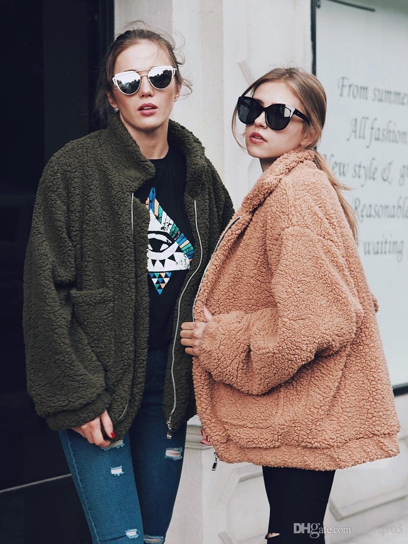 Женщины негабаритных полушерстяные куртка с длинным рукавом Zip - Up повседневная зимнее пальто девушки хип-хоп байкер куртки мода искусственного меха куртка пальто CJG1102