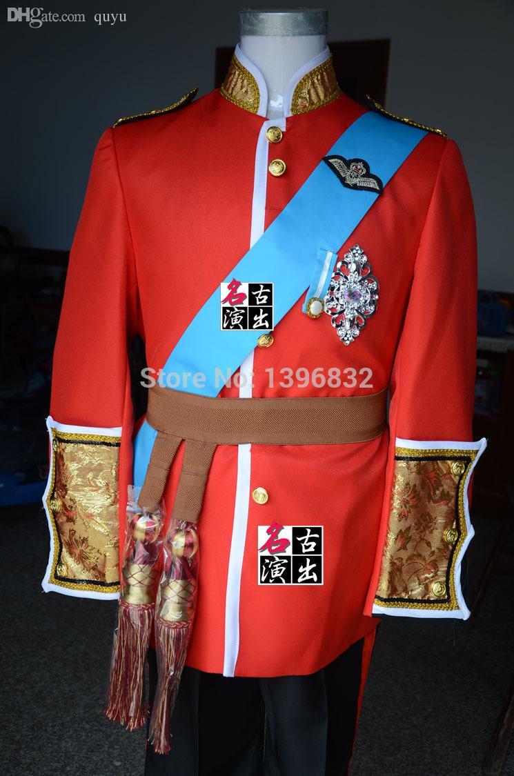 2018 Wholesale Mens Red Prince William Wedding Suit Medieval Suit ...