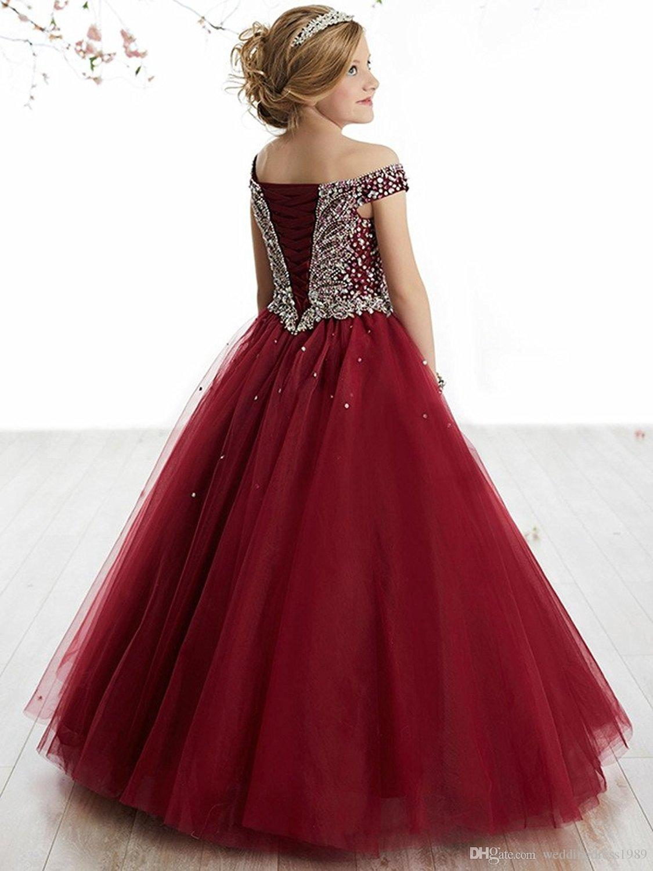 Elegant Beads Sequins Girls Pageant Dresses 2018 Crystal Girl Communion Dress Ball Gown Kids Formal Wear Flower Girls Dresses for Wedding
