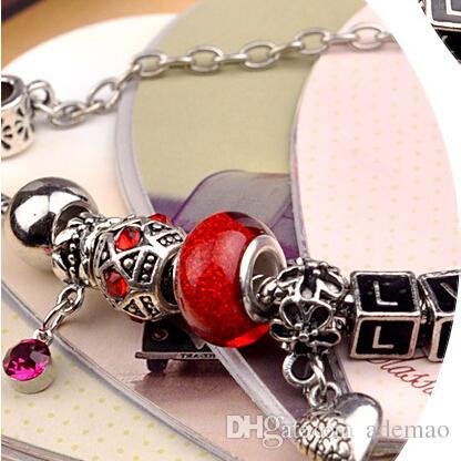 / moda 925 sterling silver margherite di murano glasscrystal europeo perline di fascino adatto braccialetti di fascino stile bracciali 18-20 cm