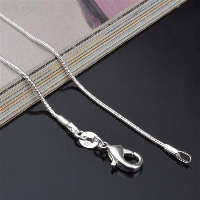 Высокое качество стерлингового серебра 925 змея цепи ожерелье 1мм 16-24inches ювелирные изделия заводская цена бесплатная доставка