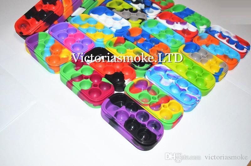 6 + 1 Contenedor de silicona 6 + 1 Contenedor de cera de silicona caja colorida de calidad alimentaria tarro de cera de silicona reutilizable es diferentes Envío gratis