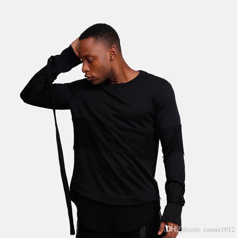bdb2c0415875e 2017 New Noir T Shirts Hommes Manches Longues Avec Ceinture High Street  Wear Homme Soldat Longueur T Chemises Nouvelle Mode Ts Shirts A Team Shirts  From ...