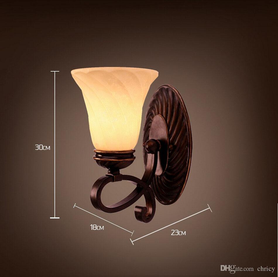 레트로 유럽 통로 / 독서 벽 램프 유리 전등 갓 객실 벽 조명 E27 크리 에이 티브 철 플레이어 디자인 홈 바 장식