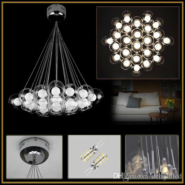 LED Clear Glass Pendant Lights Lamp Bubbles Ball Double Chandeliers Ceiling Lighting AC110