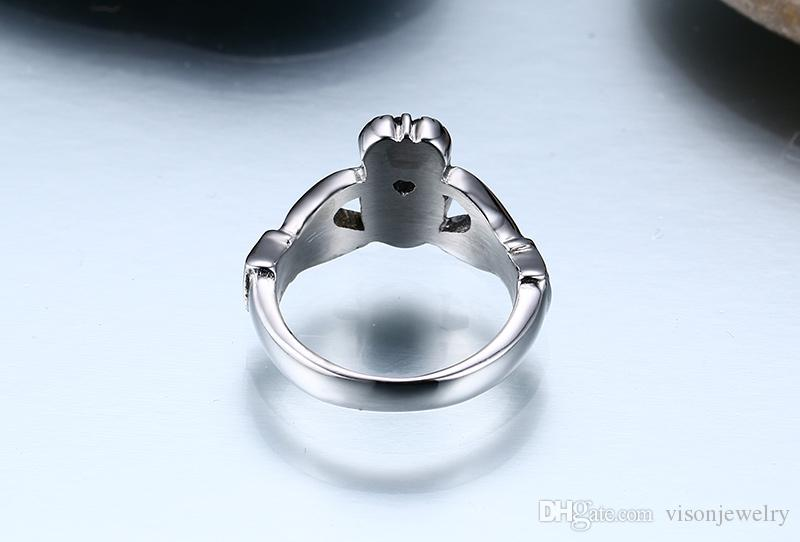 Персонализированные кольца из нержавеющей стали Ирландия Claddagh Кольца обручальные Ирландский Claddagh из нержавеющей стали