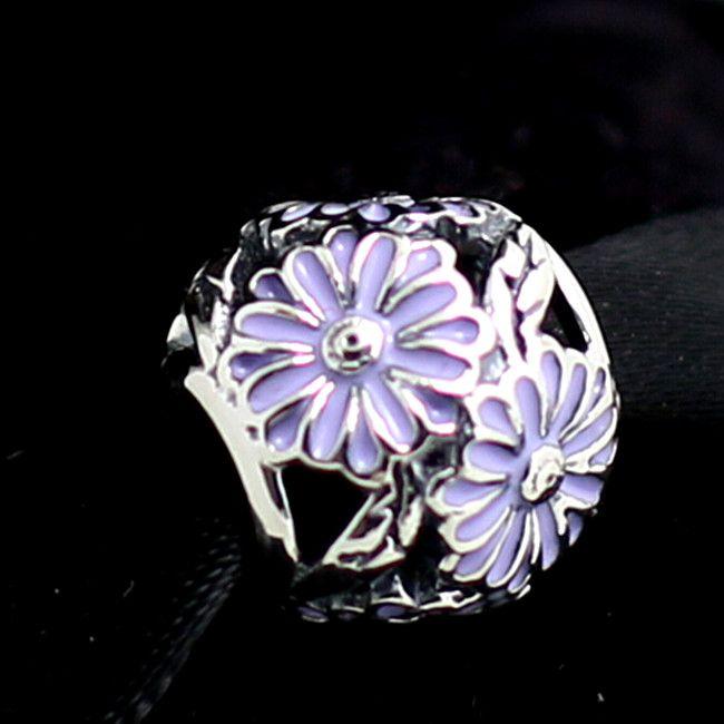 2015 925 Ayar Gümüş Papatya Charm Boncuk Lavanta Emaye Avrupa Pandora Takı Bilezikler Kolye Kolye Uyar