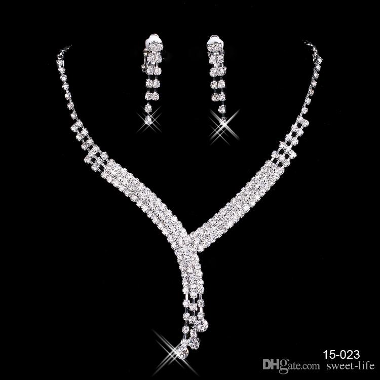 150-23 Sparkly Silver Sets Bride Wedding Pageant Rhinestone Necklace Earrings Jewelry Sets for Party Bridal Jewelry