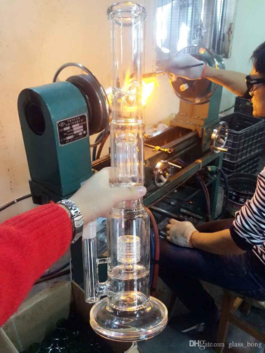 17.5 pulgadas de altura Tabaco Tubo de vidrio Agua Agua Plataforma petrolera Excelente Glass Fumar Tubos con Percolator Arm De Árbol Hojas de Hojas de Vidrio