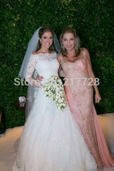 2015 New Sexy A Line Appliques Lace Wedding Dresses Long Sleeves Floor-Length Bridal Gowns Vestidos De Noiva QS44