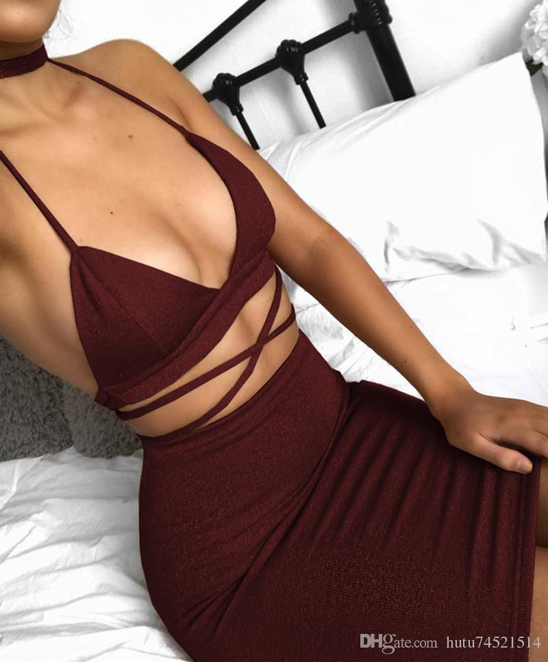 Sexy Sparkly Bandage Bodycon Dresses 2017 Halter Deep V Neck Lace Up Crop Top Due pezzi Set Summer Party Abiti Vestidos