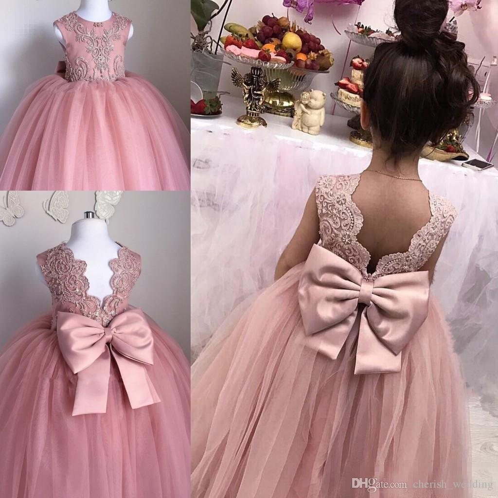 2017 pink flower girl dresses for weddings ball gown tulle jewel 2017 pink flower girl dresses for weddings ball gown tulle jewel lace applique with satin bow low back pageant dress first communion gown girls tulle dress mightylinksfo