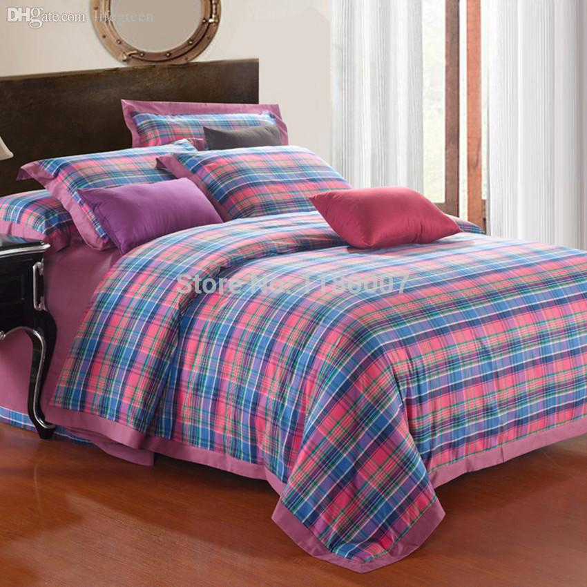 Wholesale 2015 New High Quality Womens Bedding Set Multi Tones Plaids Duvet    Comforter Cover Super King Flat Sheet Bed Cover 2 Shams Black Comforter  Full ... 15b4ae9aba