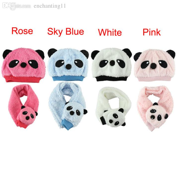 c3647d18c7c 2019 Wholesale Delicate Winter Children S Hat Scarf Set Panda Modeling Baby  Hats Velvet Ear Muff Cap Hot Selling From Enchanting11