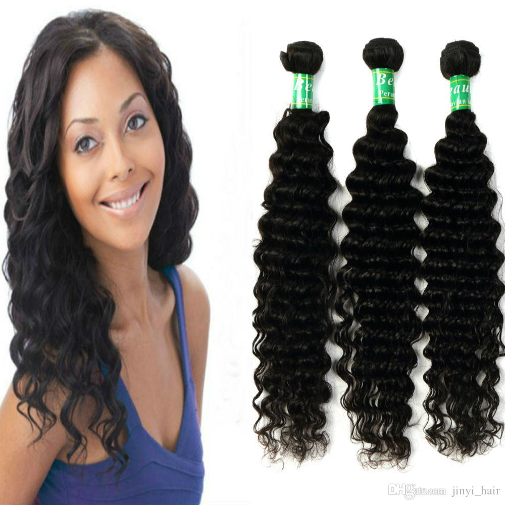 100 Virgin Hair Peruvian Deep Wave Hair Weave 3 Bundles Thick Remy