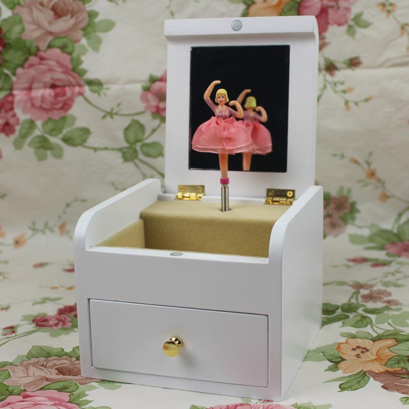 Rotating Ballerina Wooden Jewelry Box Music Box Birthday Gift Home