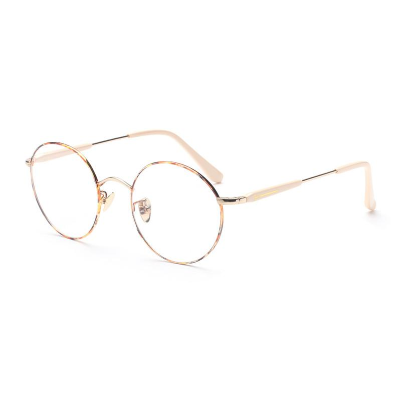 768cb808bf6 Wholesale- Spring Hinge Round Gold Transparent Lenses Eye Glasses Frame  Women Men Female Optical Grade Points Prescription Eyewear Rimless Eyewear  Rimless ...