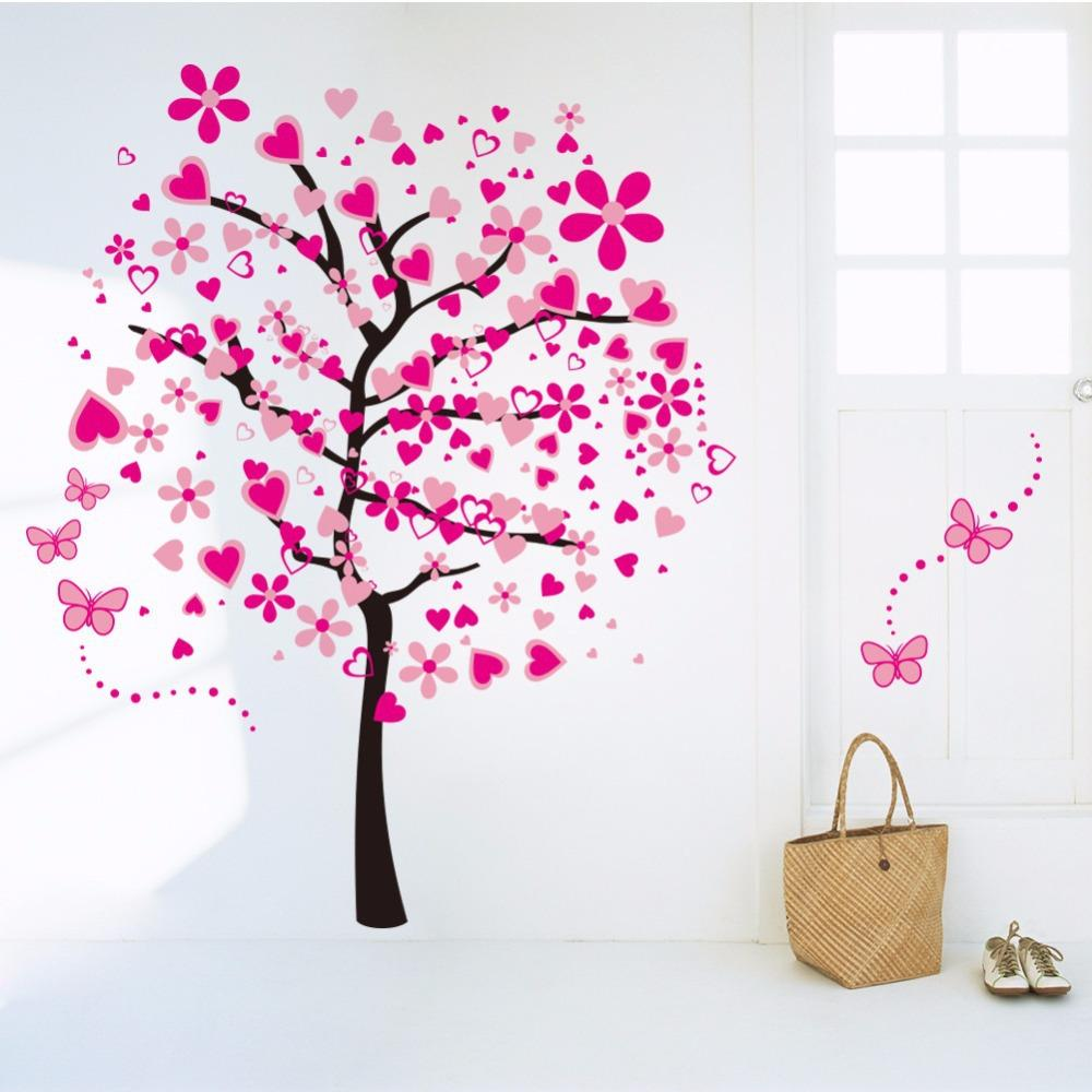Blossom Colorful Heart Large Tree Wall Sticker Romantic Sticker Decal  Living Room Background Stickers Bedroom Decals Removable Boys Wall Decals  Boys Wall ...