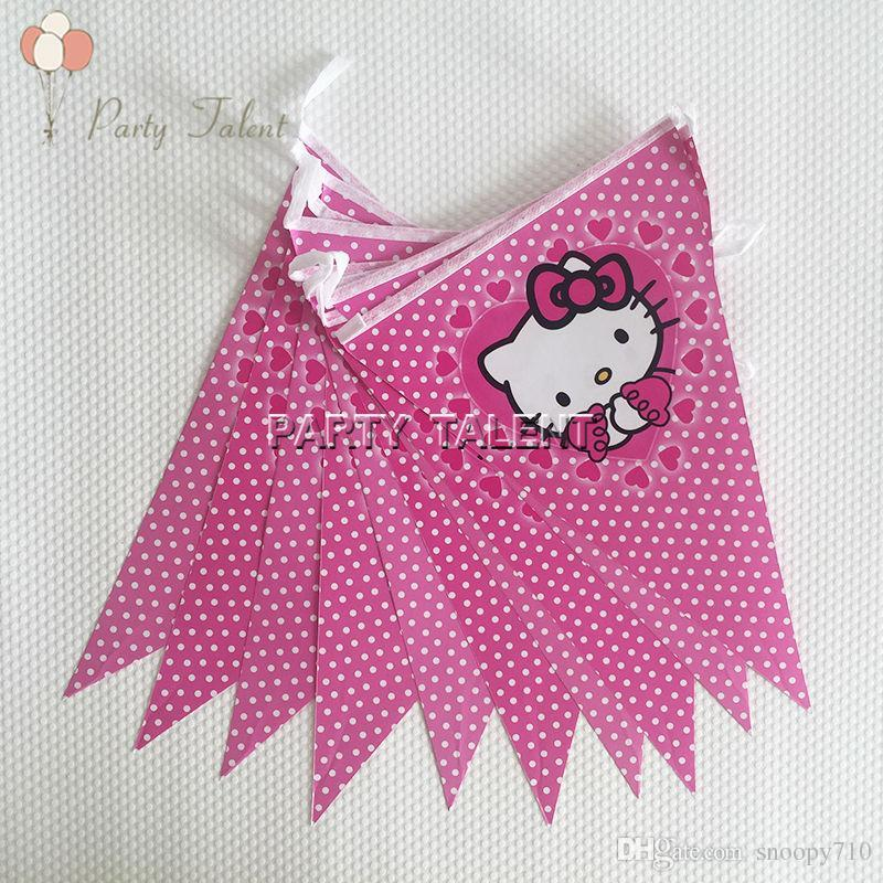 Wholesale-Party supplies 1 set 2 5m Hello Kitty theme party kids birthday  party decoration paper banner including 10 flags
