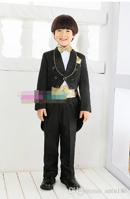 handsome Children dress black tuxedo spring/summer flower boy costumes formal party suits jacket+pants Custom made