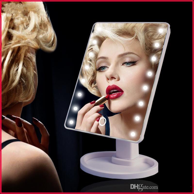 360 graus de rotação espelho de maquiagem ajustável 16/22 led iluminado led tela de toque portátil espelhos cosméticos luminosos