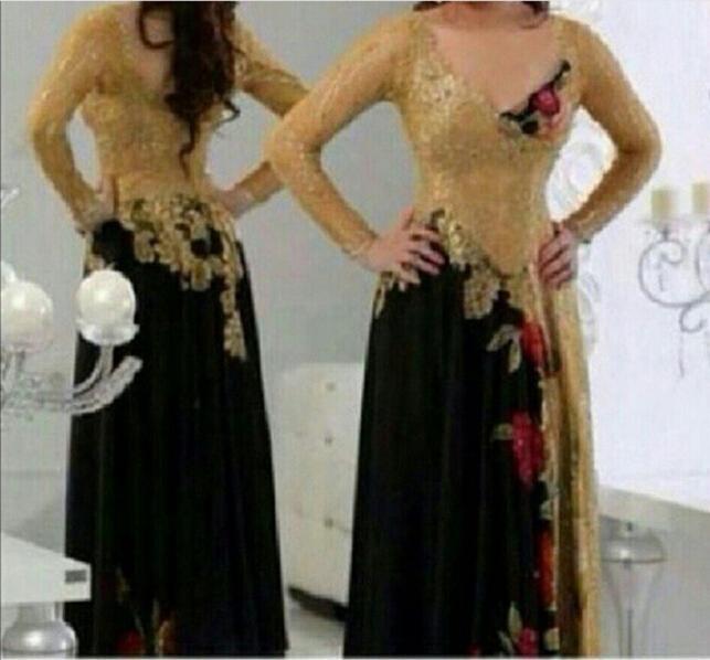 金と黒のイブニングドレス2015刺繍の花と長袖のセクシーなVネックvestidos de Fiesta Promガウン