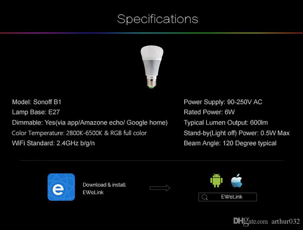 Sonoff B1 Led Ampoule Gradateur Wifi Intelligent Ampoules Télécommande Wifi Interrupteur Lumière Led Couleur Changeante Ampoule Fonctionne avec Alexa