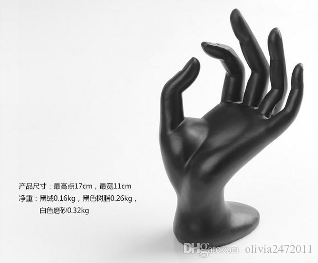 New Black Velvet Resin Jewelry Ring Bracelet Necklace Hanging Hand Display Holder Stand Show Rack AF