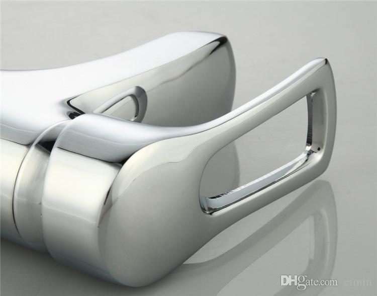현대 크롬 널리 광범위한 분지 꼭지 싱글 핸들 싱크 믹서 탭 데크 장착 짧은 밀짚 모자 디자인 폭포