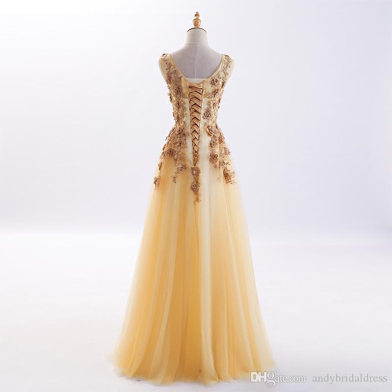 Sheer Top Petal Flowers Appliqued Gold Evening Dresses Prom Party Gowns A Line Scoop Neckline Tulle Long Formal Dresses