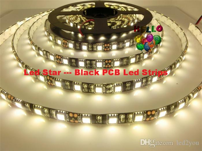 Black PCB Board 5050 Led RGB Strip Light 5M/Reel IP65/IP20 Led Tape Waterproof 300 LEDs +44 keys IR Remote+6A Power Supply