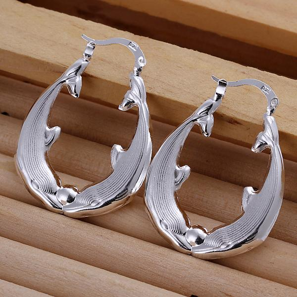 PENDIENTES de plata de ley 925 de la manera PENDIENTES huecos ovales de ALTA CALIDAD