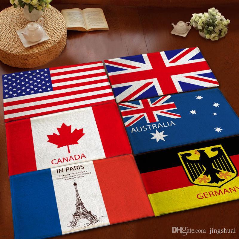 Entrance Doormat National USA Flag Memory Foam Bathroom Rugs and Carpets Australia Canada Flag Floor Mats Non-slip drop shipping