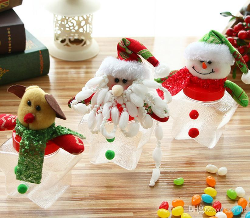 Christmas Candy Box Xmas Elk Santa Snowman Bear Dolls Topper Clear Sweet Boxes Container Kids New Year Gift Wrap party decor