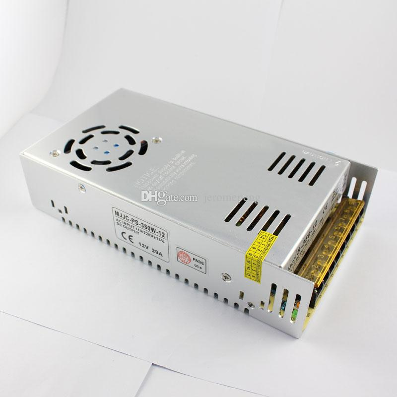 12V volt 29A 350W LED Power Supply with Fan and 110v 120V 220V Switch Non waterproof for LED Strip Lights and Advertising Modules