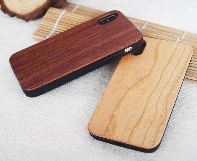 Bamboo Handmade iPhone X Wood + Custodia in silicone Cover in legno iphone 7/8 Plus xs max Custodia Samsung Galaxy S8 S9 Plus