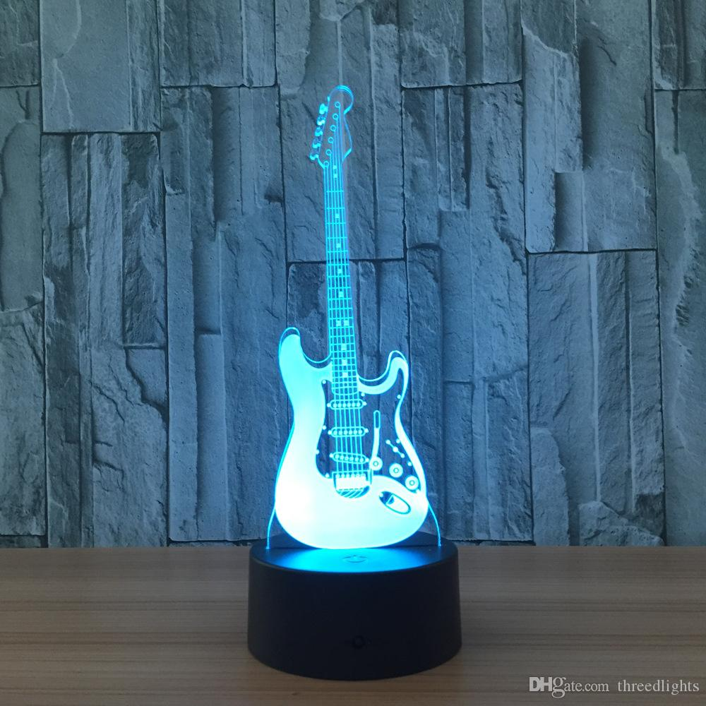 Guitar Creative 3D Light Electric Guitar Model Illusion 3d Lamp LED Changing USB Night Light