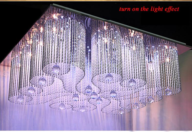 Promotion ! Modern european style rectangle Led segmented dimmable chandeliers ceiling light , K9 crystal beads + glittering aluminium bars