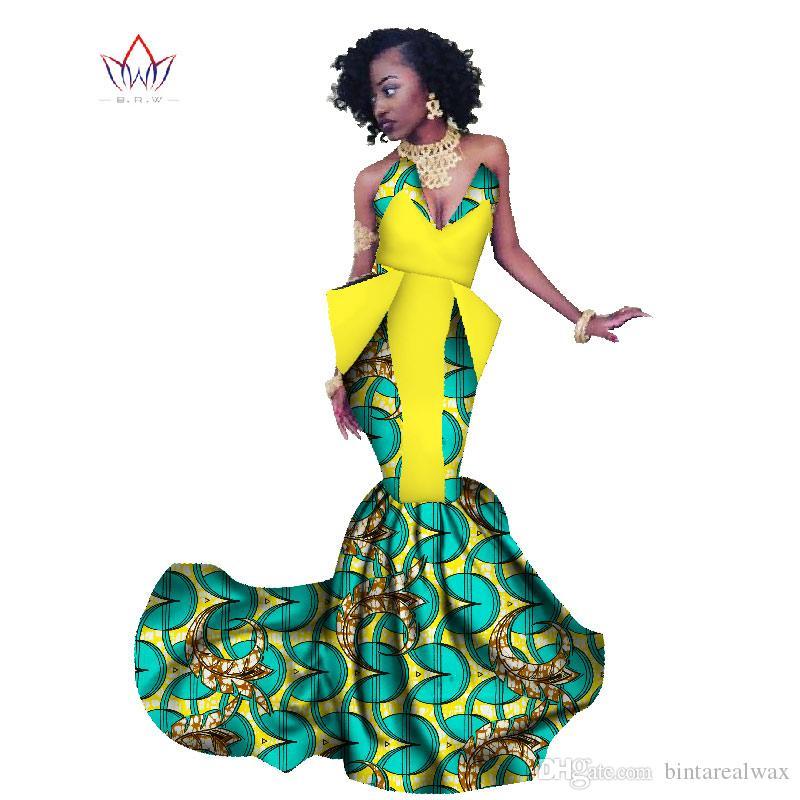 2018 Spring Africa Dress For Women Abito lungo a sirena Abito formale Ankara Abito in cotone africano con stampa WY1300