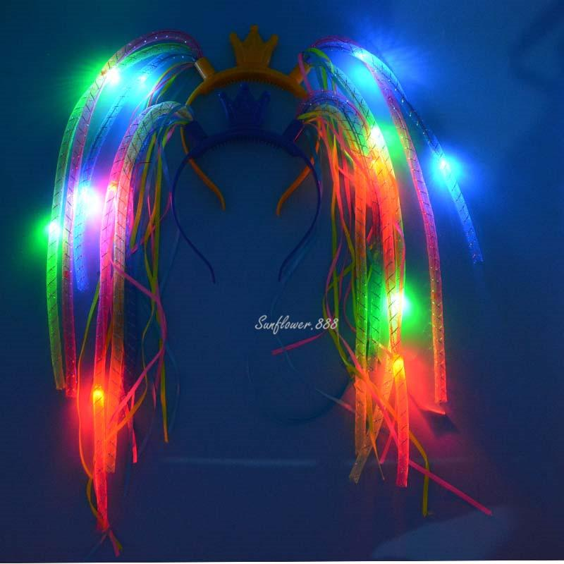 Model Of Light Up Crown Braids Head Band Led Lights Party Headband Rave Costume Dress Up Braids New Year Hair Accessories Rave Party Party Items For Kids Party Kits For Your House - Contemporary led light accessories Ideas