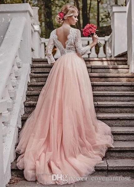 2019 A Linha de Blush Vestidos de Noiva Rosa Com 3/4 Mangas Compridas Tule Saia de Renda País Vestido de Noiva Com Decote Em V Vestidos de Noiva Barato