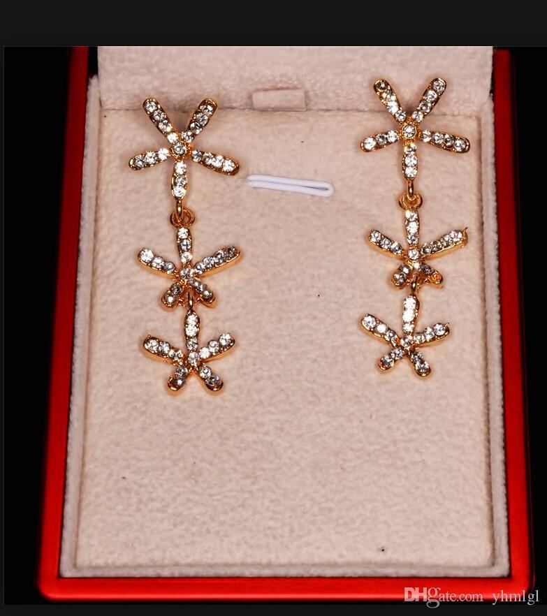 Yeni Uzun Kar Tanesi Çiçek Dangle Bırak Püskül 18 K Altın Kaplama Avusturyalı Kristal Küpe Kadınlar Için Moda Takı Ücretsiz Kargo