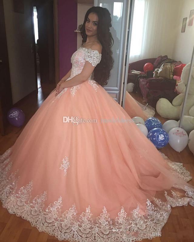 Sweet 16 Peach Quinceanera 2020 épaules Puffy Corset Retour Appliques robe de bal princesse de 15 ans Filles Prom Party Robes sur mesure