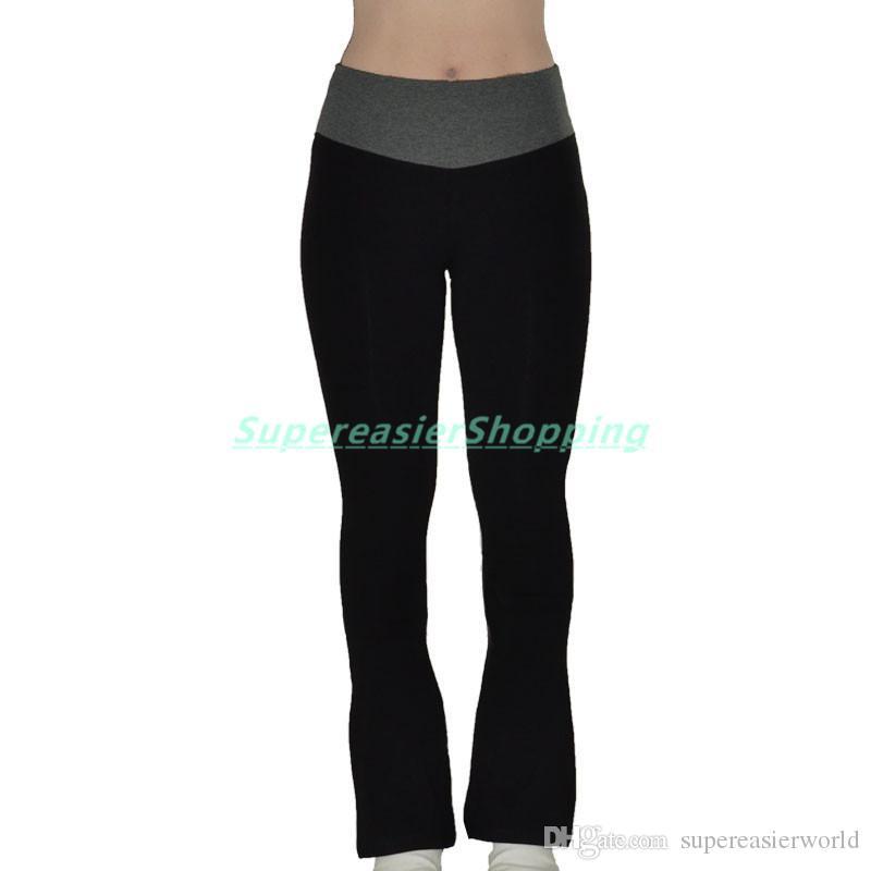2017 Black Fitness Yoga Pants Women Sportswear Flared Pants Wide ...